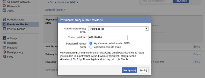 Korzystanie z Facebooka offline za pomocą smsa F pod numer 32665