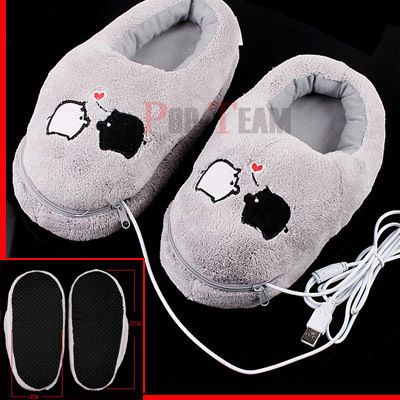 Kapcie w stylu Geek - Podgrzewane Plush USB Foot Warmer Shoes Electric Heat Slipper