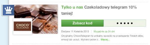 Czekoladowy telegram z 10-procentową zniżką - ChocoTelegram