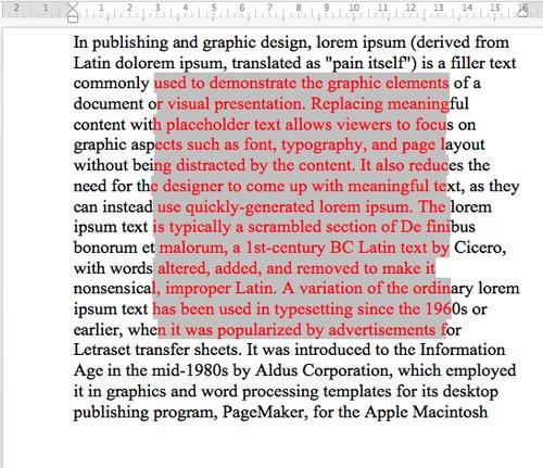 Wyróżnianie - podświetlanie środka dokumentu Microsoft Word
