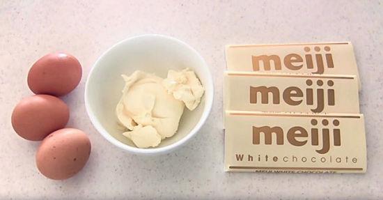 1. Przepis na japoński sernik 3 składniki - ser biała czekolada jajka
