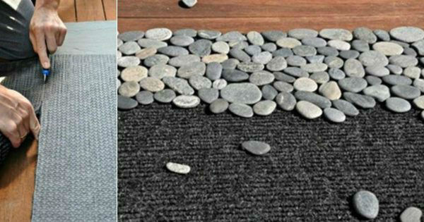 DIY dywanik z kamieni morskich