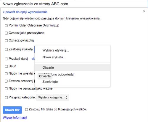 Filtry na podstawie kryteriow wyszukiwania Gmail 2
