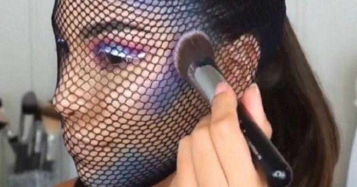 Niespodziewany efekt, jeśli podczas makijażu założyć na głowę rajstopy