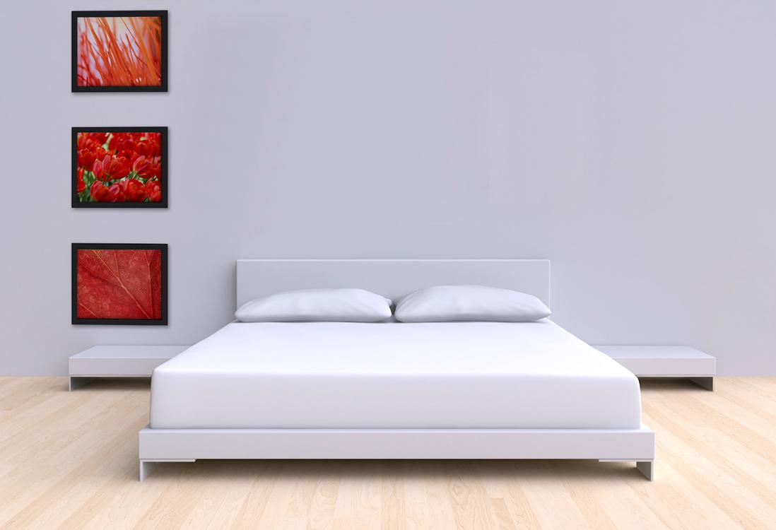 Jak wieszać obrazy w kolumnie sypialnia Obrazki do wnętrz w prostokątnej ramie jeden pod drugim