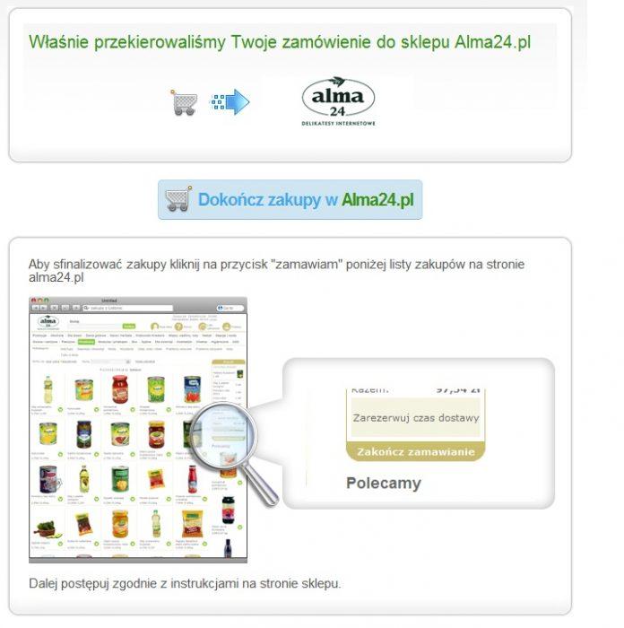 Przekazanie listy zakupowej do sklepu internetowego Alma