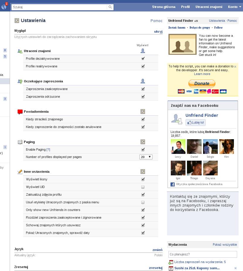 Unfriend Finder Facebook ustawienia 2