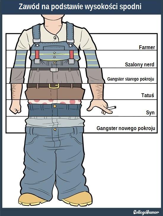 Zawód na podstawie wysokości spodni (mężczyzna)