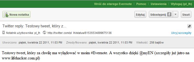Przeglądaj kufer - tweet z Twittera w Evernote