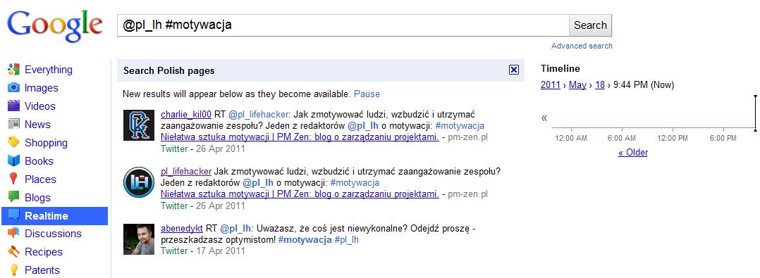 Google - wyszukiwanie w czasie rzeczywistym