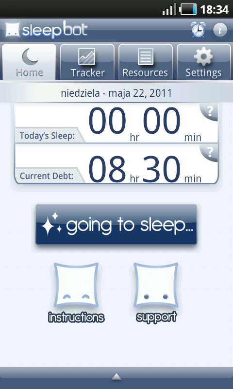 Sleep Bot Tracker Log - ekran powitalny