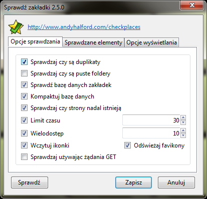 Check Places - wtyczka (Mozilla Firefox)