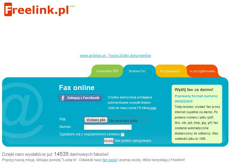 Freelink - Wyślij fax za darmo!