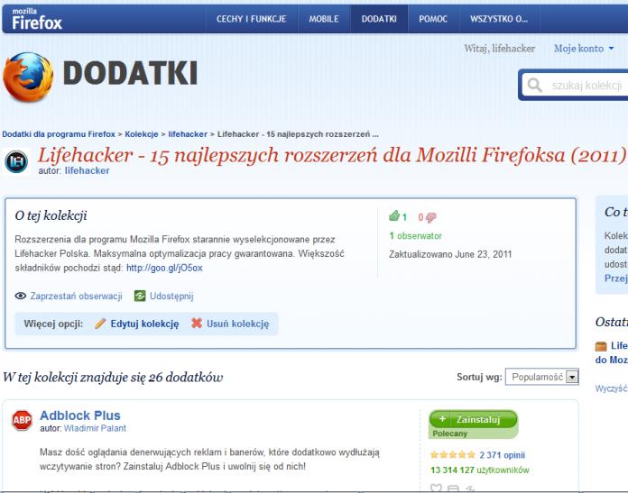 Lifehacker - 15 najlepszych rozszerzeń dla Mozilli Firefoksa (2011)