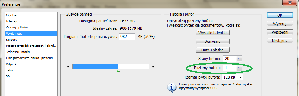 Zmniejszenie liczby - poziomy bufora w Adobe Photoshop