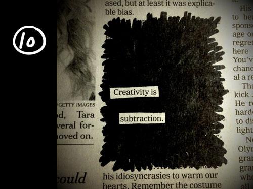 10. Kreatywność to rezygnacja z rzeczy zbędnych