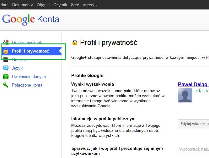 Zakładka Profil i prywatność w Google+ - Lifehacker