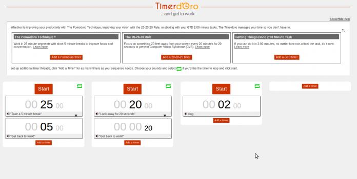 Timerdoro 3 timery internetowe dla Pomodoro, GTD oraz zasady 20-20-20 - Lifehacker