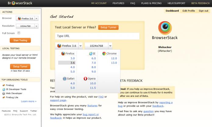 BrowserStack - wspierane przeglądarki stron WWW
