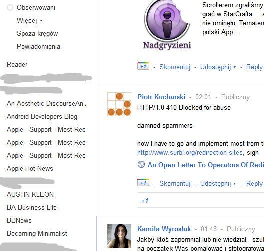 Strumień Google+ wyświetlanie wszystkich subskrybowanych subskrypcji RSS