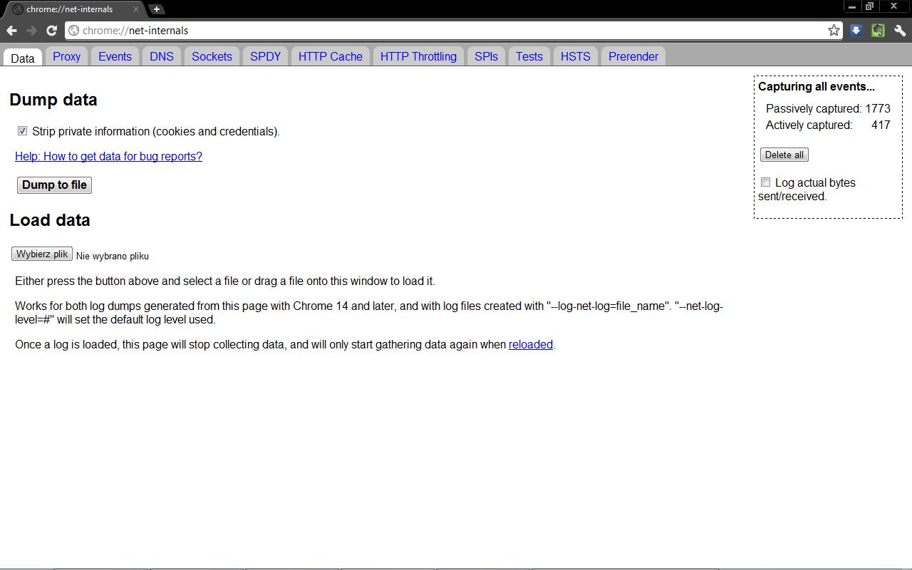 Diagnostyka sieci Google Chrome - Informacja sieciowa