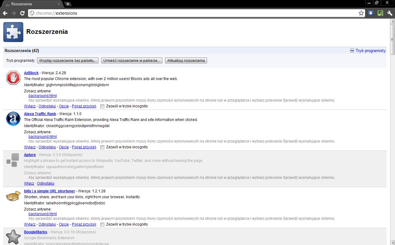 Google Chrome - Rozszerzenia