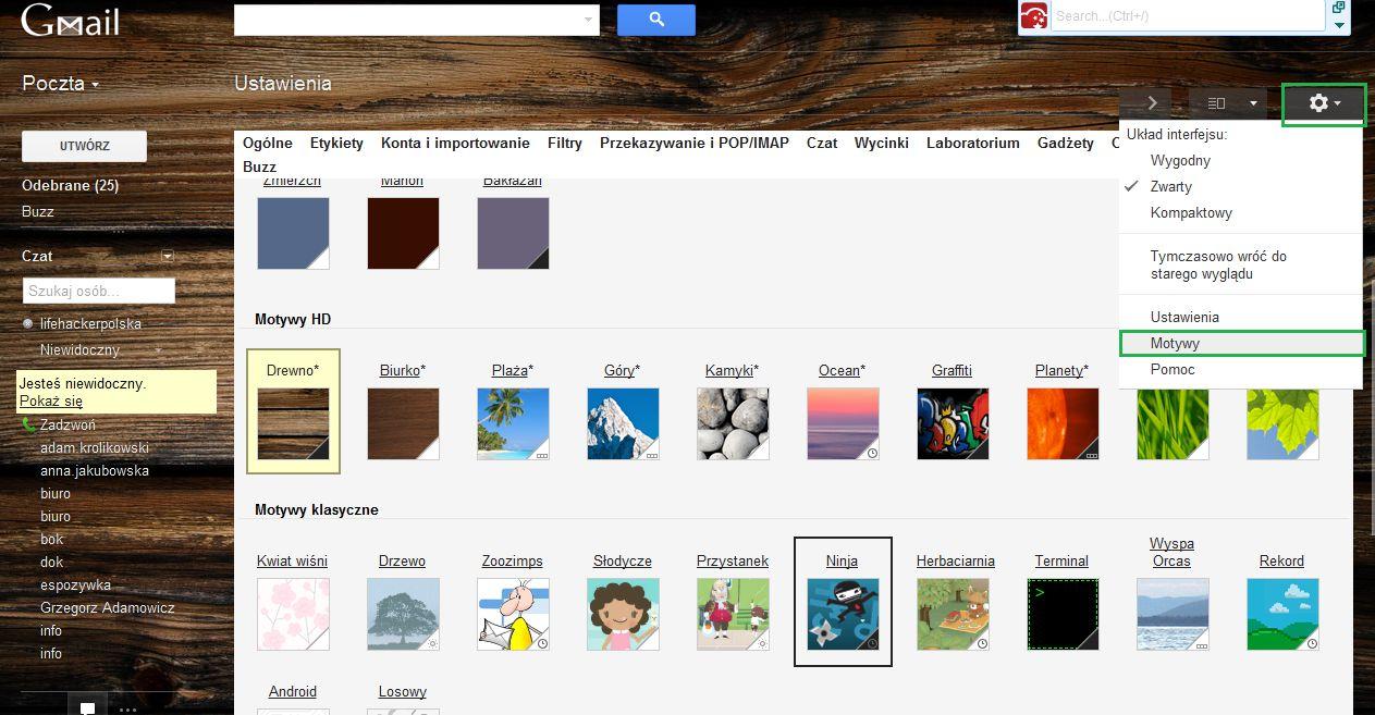 Jak zmienić wygląd Gmaila - motywy