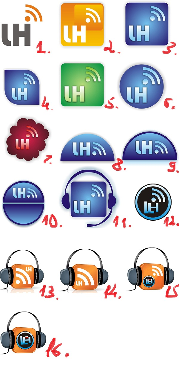 Lifehacker - projekty logotypu podcastu LH (ponumerowane)