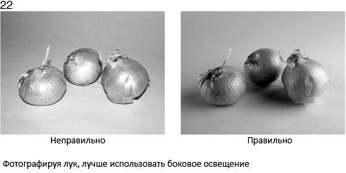 22 Robiąc zdjęcia cebuli, lepiej wykorzystywać oświetlenie boczne - źle