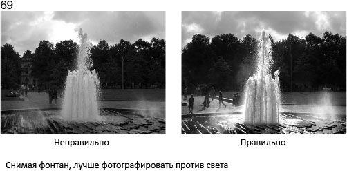 69 Fotografując fontannę, najlepiej jest stanąć naprzeciwko światła