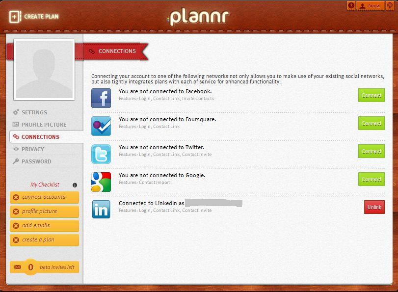Plannr - integracja z serwisami społecznościowymi