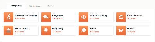 Kursy są podzielone wg kategorii, języków, tagów