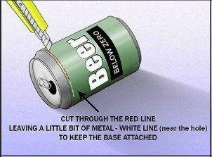 Przetnij puszkę wzdłuż czerwonej linii, pozostawiając dosłownie parę centymetrów