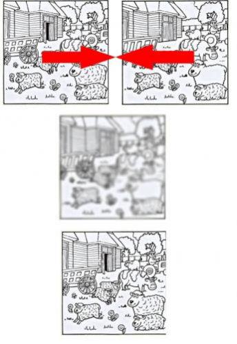 Trzeba połączyć w umyśle 2 obrazki (niekoniecznie umieścić obok siebie - można ulokować jeden nad drugim lub wyrównać je w pionie).