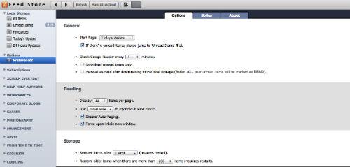 Czytanie RSS w trybie offline - preferencje MagicCube FeedStore dla Google Chrome