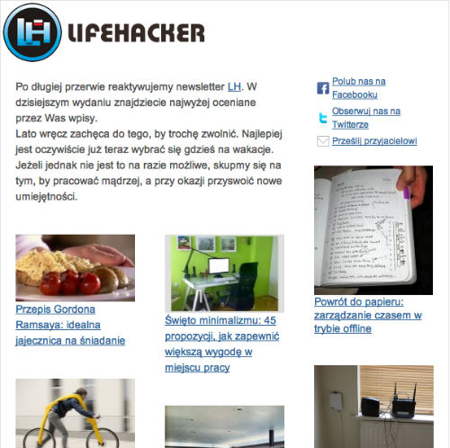 Subskrypcja - Newsletter Lifehackera