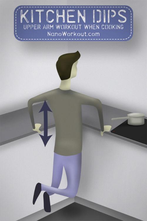 Kuchenne dipsy - pompki na poręczach robione podczas gotowania