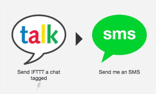 Wysyłanie smsa na zgubiony telefon po wysłaniu #lostphone do bota IFTTT na GTalk
