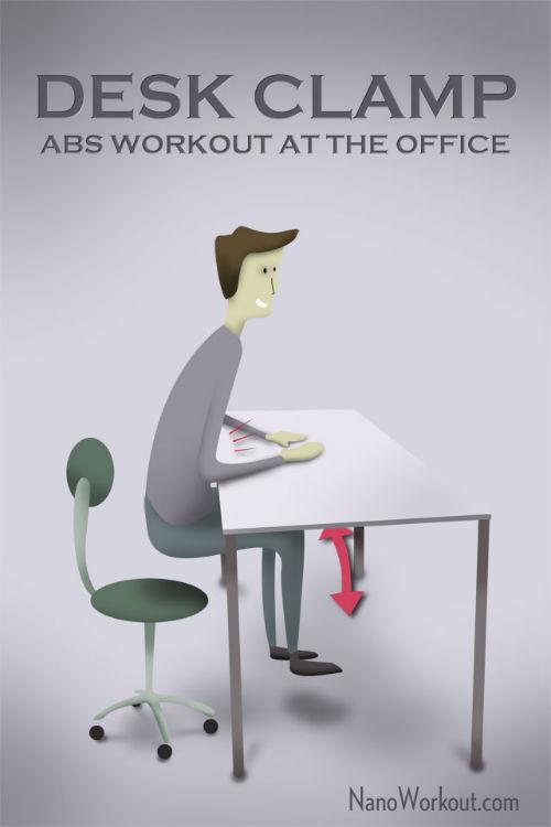 Zaciski przy biurku - ćwiczenia w biurze na lepszy ABS