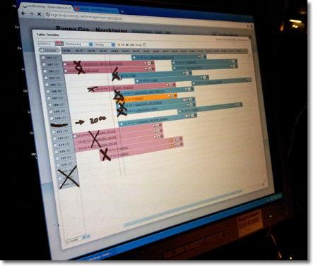 Zaznaczanie rezerwacji krzyżykami oraz tworzenie markerem notatek na ekranie