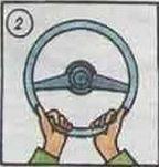 2. Takie ułożenie rąk jest typowe dla automobilisty, któremu brakuje pewności siebie
