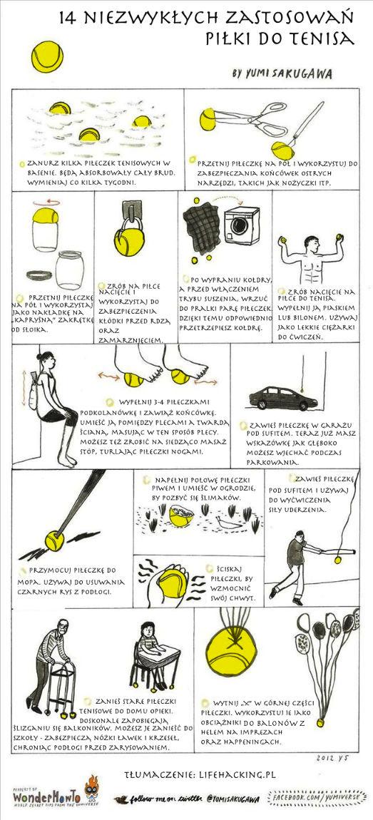 Infografika - 14 niezwykłych zastosowań piłki do tenisa