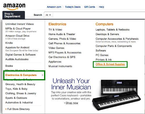 Krok 2 - Przeglądanie kategorii towarów na Amazon.com