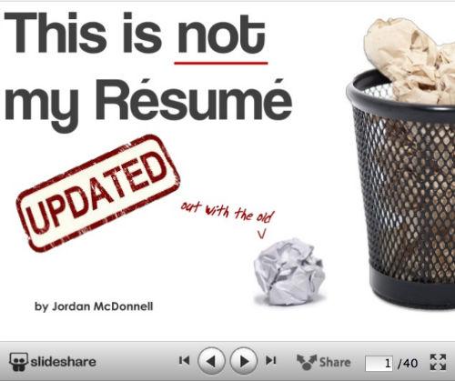 10 kreatywnych wizualnych CV od SlideShare - This is NOT my resume - Jordan McDonnell