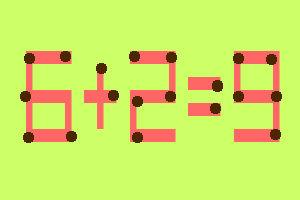 8 zagadek zapałczanych w samo południe- Przełóż jedną zapałkę i rozwiąż równanie - zagadka 1
