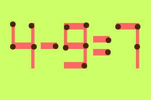 8 zagadek zapałczanych w samo południe- Przełóż jedną zapałkę i rozwiąż równanie - zagadka 2
