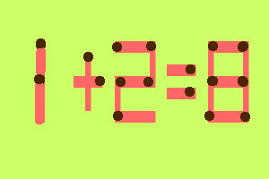 8 zagadek zapałczanych w samo południe- Przełóż jedną zapałkę i rozwiąż równanie - zagadka 4