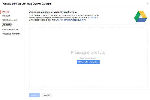 Dysk Goodle Drive - Wybierz pliki z kumputera i przeciągnij pliki tutaj
