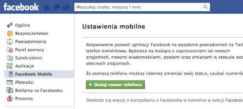 Facebook - Ustawienia mobilne