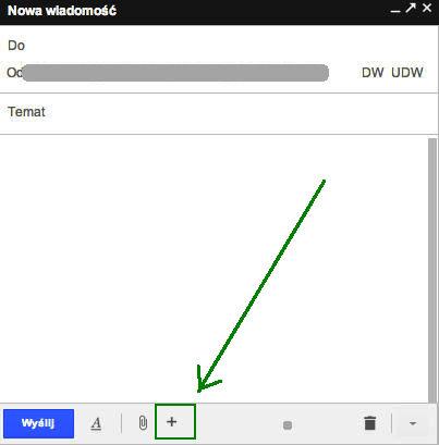 Klikamy Utwórz wiadomość i najeżdżamy na mały znak plus w oknie tworzenia wiadomości